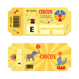 Tickets for circus performances. Vector flyer on a circus show. Two vintage entrance tickets templates set. Invitation. Coupon with elephant, seal, mask Stock Photo