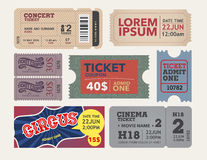 Tickets collection in vintage and retro style. Stock Photo