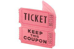 Tickets and coupon. The ticket with the coupon for visiting of show and concerts Stock Photography