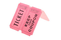 Tickets and coupon. For a pink cardboard for visiting of show, concerts etc Stock Photography