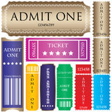 Tickets in different styles stock illustration