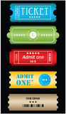 Tickets in different styles Royalty Free Stock Photo