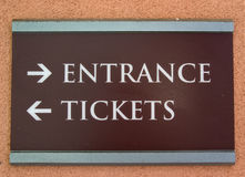Tickets and Entrance sing Royalty Free Stock Photos