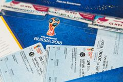 FIFA Venue Ticketing Centre. Tickets for the 2018 FIFA World Cup in Russia in summer, Ekaterinburg Arena, Japan-Senegal stock photos