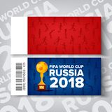 Tickets Fifa World Cup Vector. Russia 2018 Competition. Red, Blue Background. Ticket Template. Soccer Ball, Trophy. Tickets Fifa World Cup Vector. Russia 2018 Stock Image