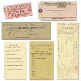 tickets gammalt papper för bokstavsobjekt tappning Arkivfoto