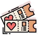 Honeymoon tickets LineColor illustration. Tickets with a heart symbol vector illustration in line color design royalty free illustration