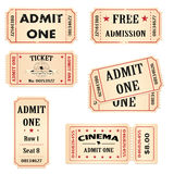 Tickets. Isolated set of cinema, theater and events admission tickets Stock Photo
