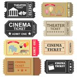 Tickets, a large set of tickets to the cinema, a ticket to the circus and the theater. stock illustration