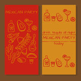 Tickets for mexican party. Doodle set of Mexican party ideas, cinco de mayo elements, mexico fiesta Royalty Free Stock Photos