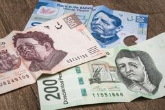 Tickets of 20, 200 and 500 mexican pesos seem to be sad. Tickets of 20, 200 and 500 mexican pesos seem to be sad because of its weakness against the dollar. We Royalty Free Stock Photo