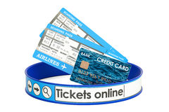 Tickets Online, booking concept. 3D rendering. Isolated on white background Stock Photos