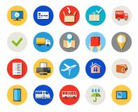 Tickets and online purchases, delivery, payment, colored icons. Royalty Free Stock Photo