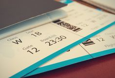 Tickets with passport. The tickets with passport background stock image