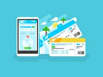 Tickets for the plane on a smartphone Royalty Free Stock Photos