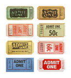Tickets. Selection Of Differnet Old Admit One Tickets Isolated on White Background Royalty Free Stock Photo