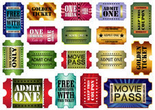 Tickets set. Vector set: admit one tickets,  illustration Stock Images