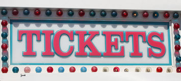 Tickets Sign. At the amusement park Stock Photo