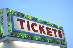TICKETS Sign. A Colorful Sign Announces Where TICKETS May be Purchased at a Carnival Stock Image