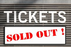 Tickets sold out information at ticket kiosk sign stock image