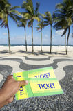 Tickets to Football Soccer Event in Copacabana Rio Brazil Royalty Free Stock Images