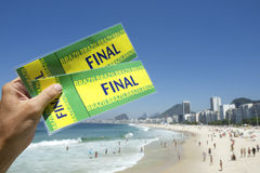 Tickets to Football Soccer Final at Copacabana Beach Rio Brazil Royalty Free Stock Photography