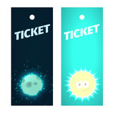Tickets to show for children with moon or sun. Tickets to show for children with smiling moon or sun Stock Images
