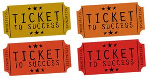 Ticket to success. Tickets to success in several colors Royalty Free Stock Images