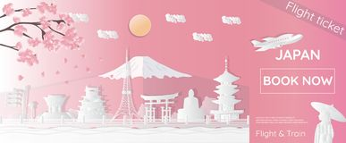 Tickets for traveling to Japan, famous places in Japan, advertising templates, plane tickets in paper-cut styles - vector illustra. Tions stock illustration