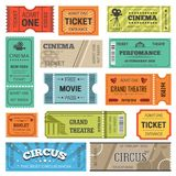 Tickets vector design templates for movie, theater or cinema and circus or concert show. Tickets design templates for movie, theater or cinema and circus or show Royalty Free Stock Image
