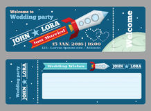 Tickets vector template for wedding invitations Stock Image