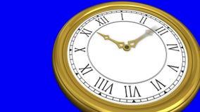 Ticking clock on blue background stock illustration