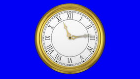 Ticking clock on blue background stock video footage