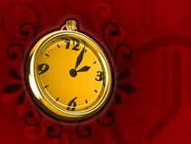 Ticking Clock Fire Version 3D Render. Ticking gold clock on red background 3d render stock illustration