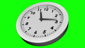 Ticking clock on green background stock video footage