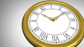 Ticking clock on grey background stock footage
