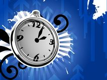 Ticking Clock Ice Version 3D Render. Ticking silver clock on blue background 3d render stock illustration