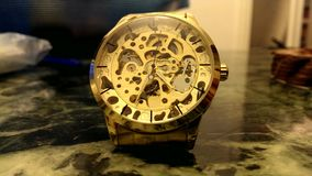 The ticking golden wristwatch. The video ticking golden wristwatch stock footage