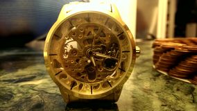 The ticking golden wristwatch stock video footage