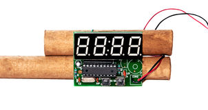 Ticking time bomb. Explosives with electronic clockwork on a white background Royalty Free Stock Photos