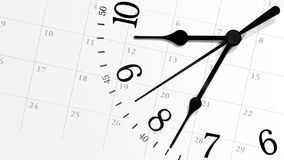 Ticking Time Clock with Calendar. A white clock with numbers is against a calendar background displaying dates of a month. Can represent an appointment schedule Royalty Free Stock Photos
