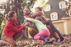 Tickling itch other make us laugh. Family time. Leisure activity Royalty Free Stock Photos