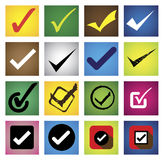 Tickmark, marca de cotejo, marca correcta, opción correcta - vector los iconos s Imagen de archivo