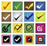 Tickmark, Prüfzeichen, rechtes Kennzeichen, korrekte Wahl - vector Ikonen s Stockbild