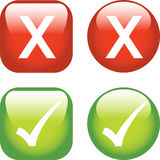 Ticks and Crosses. A Colourful set of Buttons showing Ticks and Crosses Stock Image