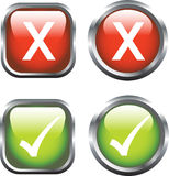 Ticks and Crosses. A Colourful set of Buttons showing Ticks and Crosses Royalty Free Stock Photos