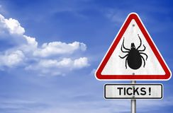 Ticks warning sign Stock Photos