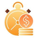 Tid är den plana symbolen för pengar Klockan och mynt färgar symboler i moderiktig plan stil Design för stil för investeringtidlu royaltyfri illustrationer