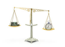 Tid är illustrationen för pengaraffärsidéen 3d på vit Arkivfoto
