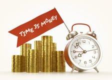 """Â """"Tid är pengar! Â-"""" larmmeddelande Arkivbild"""